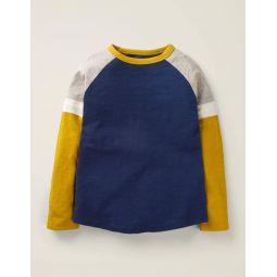 Sporty Raglan T-Shirt - College Navy/Tuscan Sun Yellow