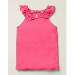 Frill Sleeve Tank - Bright Camellia Pink