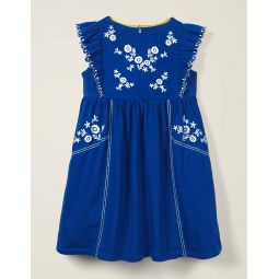 Embroidered Jersey Dress - Bright Blue