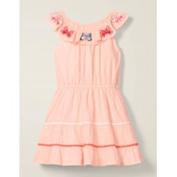 Embroidered Ric Rac Dress - Provence Dusty Pink