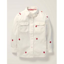 Strawberry Embroidered Shirt - White Strawberry