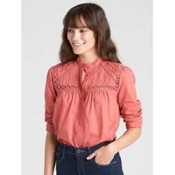 Pintuck Mockneck Lace-Trim Blouse