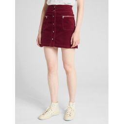High Rise Button-Front Velvet Mini Skirt