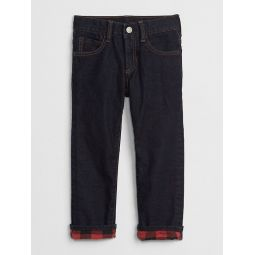 Superdenim Plaid-Lined Straight Jeans with Defendo