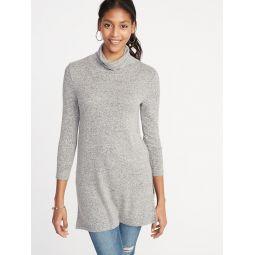 Plush-Knit Turtleneck Tunic for Women