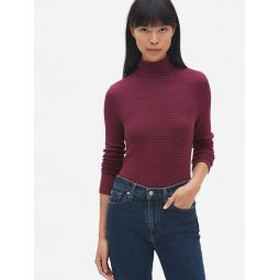 Ribbed Long Sleeve Stripe Turtleneck Top in Modal