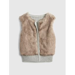 Faux-Fur Sweater Vest