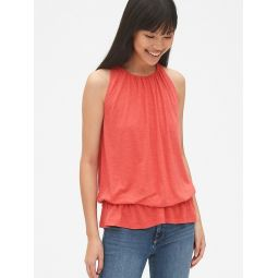 Soft Slub Shirred Peplum Hem Tank Top