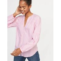 Striped Twill Button-Front Shirt for Women