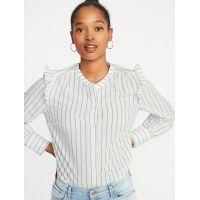 Striped Ruffled-Shoulder Shirt for Women