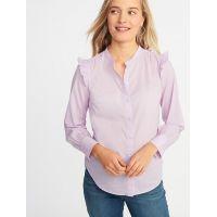 Ruffled-Shoulder Shirt for Women Hot Deal