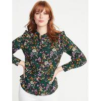 Ruffled-Shoulder Floral-Print Shirt for Women