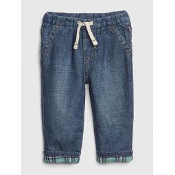 Plaid-Lined Pull-On Slim Jeans