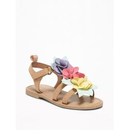 Faux-Suede Flower Sandals For Toddler Girls