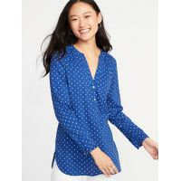 Relaxed Slub-Weave Tunic for Women