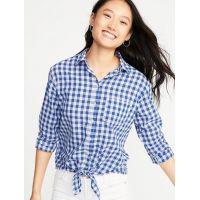 Relaxed Gingham Tie-Hem Shirt for Women