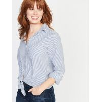 Relaxed Striped Tie-Hem Shirt for Women