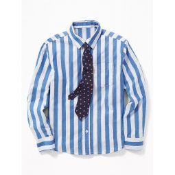 Built-In Flex Dress Shirt & Tie Set for Boys
