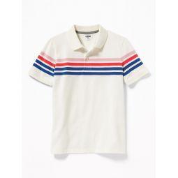 Built-In Flex Chest-Stripe Pique Polo for Boys