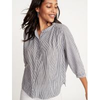 Button-Front Striped Swing Shirt for Women