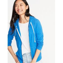 Lightweight Slub-Knit Zip Hoodie for Women