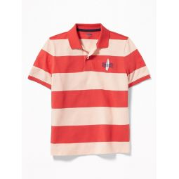 Built-In Flex Embroidered Graphic Striped Polo for Boys