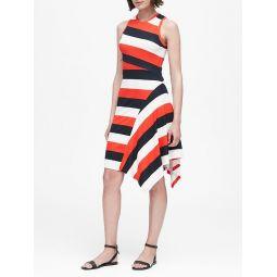Stripe Soft Ponte Asymmetrical Dress