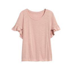Slub Cotton-Modal Ruffled T-Shirt