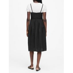 JAPAN EXCLUSIVE Linen-Blend Pleated Midi Dress