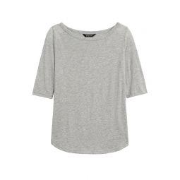 Slub Cotton-Modal Boat-Neck T-Shirt