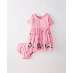 Applique Dress In Soft Tulle