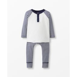 Sueded Jersey Henley + Pant Set