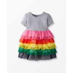 Rainbow Ruffle Dress In Soft Tulle