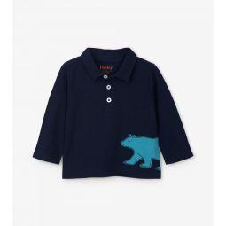 Bear Long Sleeve Baby Polo Tee