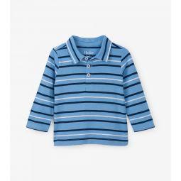 Sky Stripe Long Sleeve Baby Polo Tee