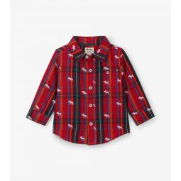 Moose On Plaid Baby Button-down Shirt