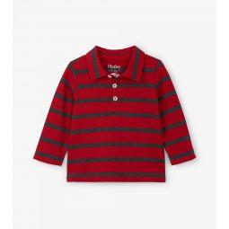Crimson Stripe Long Sleeve Baby Polo Tee