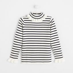 Girl striped turtleneck sweater