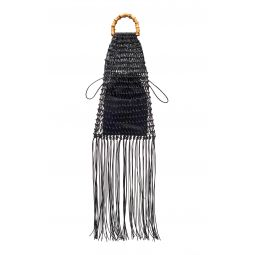 Fringed Cotton-Net Top-Handle Bag