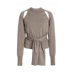 Morgan Cutout Tie-Front Wool Sweater