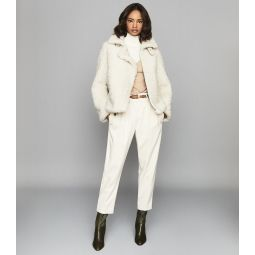 Clarice Cream Reversible Curly Shearling Jacket