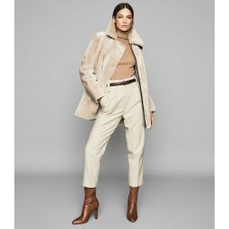 Izzie Neutral Mid Length Shearling Coat