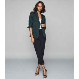 Neya Petrol Blue Textured Tailored Blazer