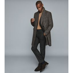 Livesey Black/brown Checked Slim Fit Trousers