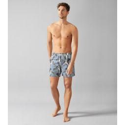 Palm Airforce Blue Palm Tree Print Swim Shorts