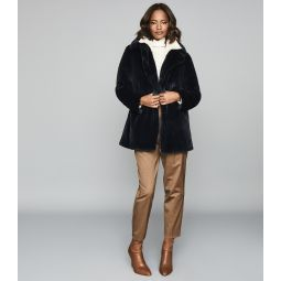 Lexington Navy Faux Fur Coat