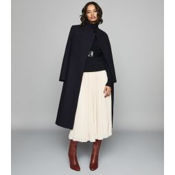 Mason Navy Wool Blend Longline Coat