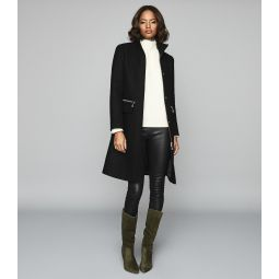 Macey Black Wool Blend Funnel Neck Coat