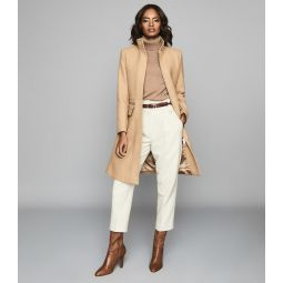 Macey Camel Wool Blend Mid Length Coat
