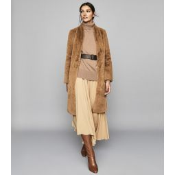 Halle Almond Long Line Faux Fur Coat